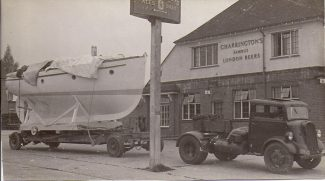 Picture 9 - A transporter carrying a boat on the forecourt of the Tarpot Hotel | F. Lazell