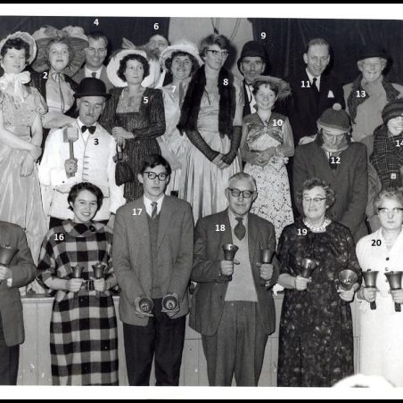 Photo 3: St Mary's Church Bell Ringers. 1. Judy Banks. 2. Norma ?  3. Mr A Green.  4. Rev. A G Banks. 6. ?  7. Alma Johnson. 8. Jackie Wood. 9. ? 10. Valda ?  11. Ron Johnson. 12. Leslie Wood. 13. Mrs Annette Carter. 14. June Carter.  15. Cyril Swains. 16. Margaret Tibbenham (now Swains), 17. Louis Tibbenham.  18. Mr G Tibbenham. 19. Mrs A Tibbenham.  20. Miss M Jewell | Jackson's Photo Service - date unknown