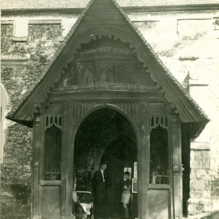 Photo 10: St Mary's Church Porch but who are the visitors?  undated | Terry Babbage, Church Warden, St Mary's Church