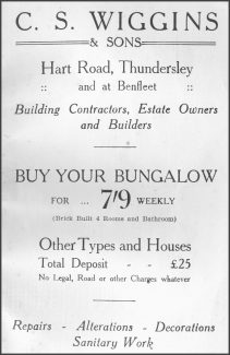 This advert appeared in the Benfleet Urban District Council's brochure dated 1935 | Castle Point Council