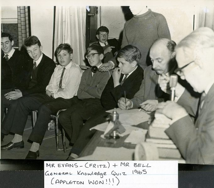 Mr Evans, Headmaster known by the pupils as  Fritz far right of the photo and next to him Mr Bell, pottery/art teacher. General knowledge quiz 1965 and Appleton won. | Glenn Newman