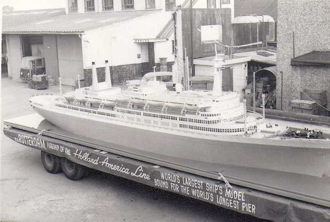 Carrying on the tradition of transporting unusual items, we see in this photograph one of Essex Carriers lorries loaded with a model of SS Rotterdam, the flagship of the Holland-America Line. Termed at the time as 'The World's Largest Ship's Model Bound for the World's Longest Pier' - Southend! | F. Lazell