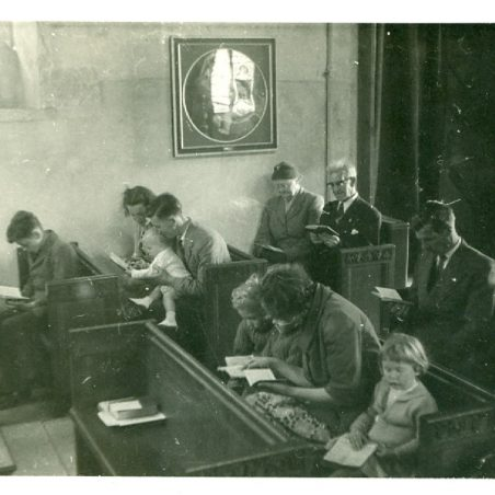 Photo 9: Service at St Mary's Church.  Mrs C Attfield in the foreground with twins, Charles and Henry.  Undated | Terry Babbage, Church Warden, St Mary's Church