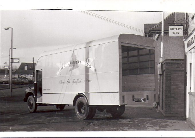 This photo shows a van leaving the company depot and we note it is still using the exit onto the London Road. Whilst we do not know the date the picture was taken, we can place it in the late 1950's as the livery shows it to be an Essex carrier, as in 1960 Frank Lazell tells us Atlas Express of Basildon acquired the business. Again the photo was taken looking towards Pitsea and we can see in the left hand background a sign for a cafe on the site of the present day Tesco express. We think this may be a cafe called The Busy Bee, but would welcome any comments from those who remember it. | F. Lazell