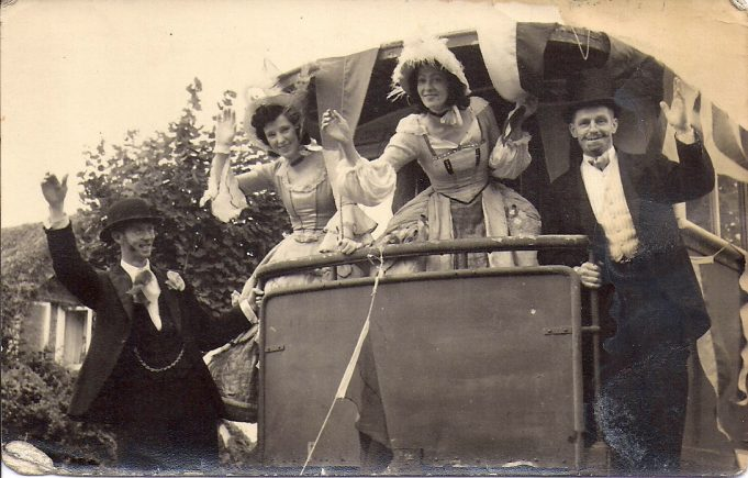 The staff all entered into the spirit of these occasions and here we see Mr. Brittain on a float, far right of the photo. | F. Lazell