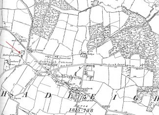 Ordnance Survey Map 1867  showing the position of Hadleigh House
