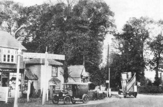 Looking down the London Road towards Tarpots. Hadleigh House was behind these buildings. The Lodge can be seen just behind the car.  Date unknown