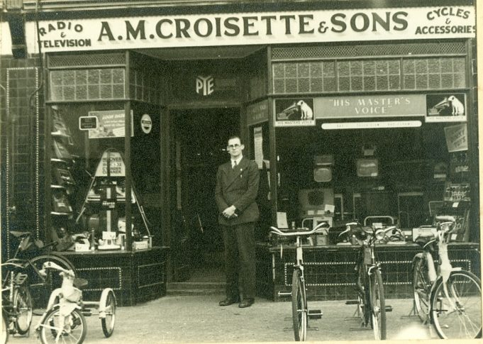 Mr Croisette outside his shop in the High Road. | Mrs Pat Croisette