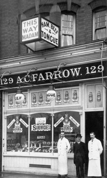 A C Farrow, 129 High Road. No longer extant. Now a new building - Journey to the East, Chinese takeaway.  (date unknown)