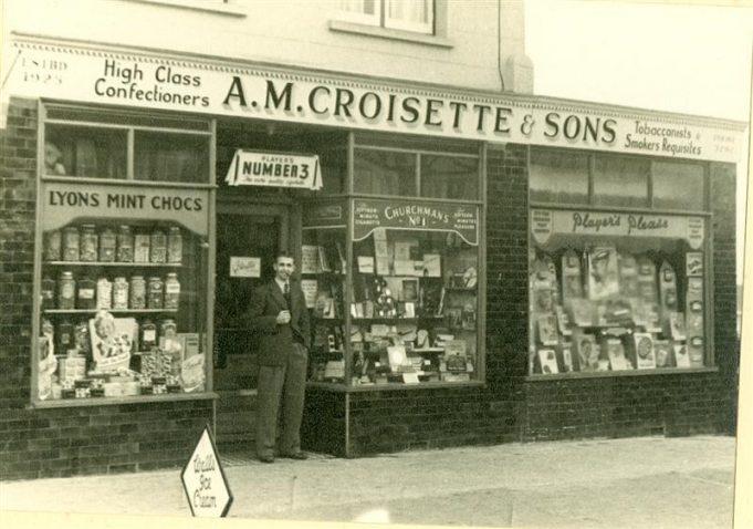 A.M Croisette & Sons, 311  High Road. Mr Bernard Croisette at his shop. Later Knightleys newsagents. | Pat Croisette