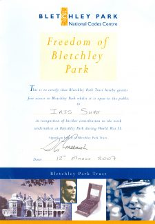 Freedom of Bletchley Park issued to Iris. | Iris Sugg