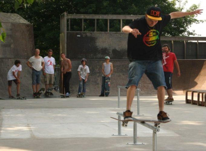 Luke Cooper taking part in skate jam.