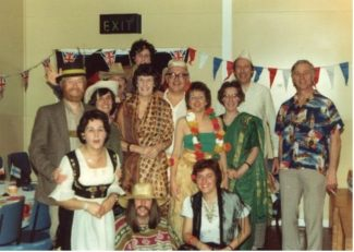 International Fancy Dress Dance. Back row. Myrtle Essery. Left to right. Derek Keighley, Brian Higgs, Eric Miller, Barrie Sanderson. Madeline Thorpe ? Miller Avril Keighley, Barbara Sanderson, Ron Yarham Sheila Yarham, Brian Thorpe, Maureen Higgs | George Essery