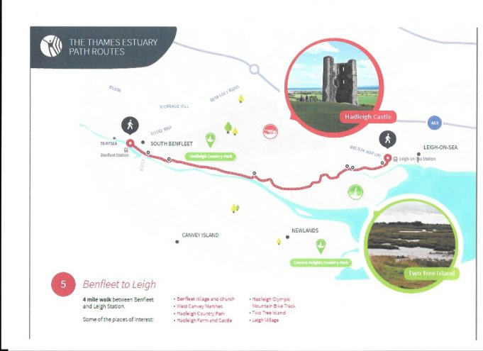 """Number 1   - A quote from 1936... """"Via school Lane over the """"Downs"""" turning east wards at the bottom of the hills, continuing below Hadleigh Castle on to Leigh on-sea."""" This  route is now part of the new  Thames Estuary Path from Benfleet  Rail Station to Leigh, see map above."""