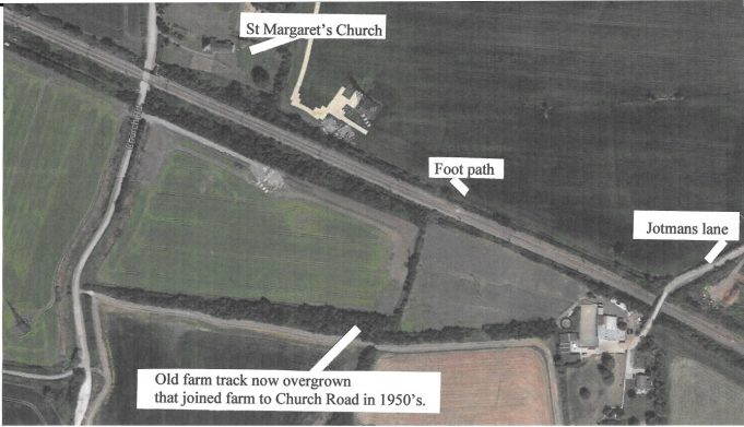 Satellite view of the old farm track south side of the London to Southend railway line on Bowers Marsh RSPB reserve.   Dec 2014.  The route From Benfleet Church to Pitsea is now part of the new Thames Estuary Path.  The route has been changed so it no longer runs along the footpath beside to the railway line to St Margaret's Church, but south of the railway line using a route close to the old farm tracks on the new RSPB Bowers Marsh reserve. This used to be the Bowers Gifford Golf Course before World War II and was later ploughed to provide farmland during the war, under the A130, beside the creek and up to Benfleet Rail Station. | Google