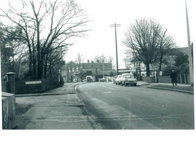 Rayleigh Road before work began. The house in the picture above is thought to have occupied the plot shown in this picture, on the far corner of Arcadian Gardens.
