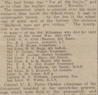 Western Gazette 23 December 1921 - Milton Abbas Grammar School Memorial | Niall Stoddart