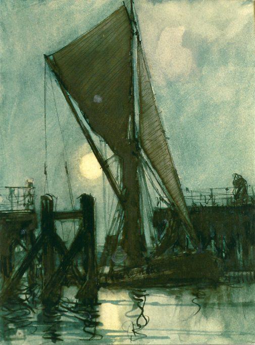 Iconic and  evocative painting by W. Edward Wigfull  -   barge passing through sliding bridge