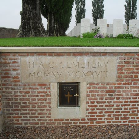 H. A. C. Cemetery.  1915-1918.  France. | Copyright.  Mr. Alan Cooper.