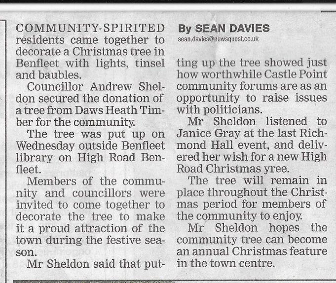 Benfleet High Road Christmas Tree - 2017 | Echo News December 2017