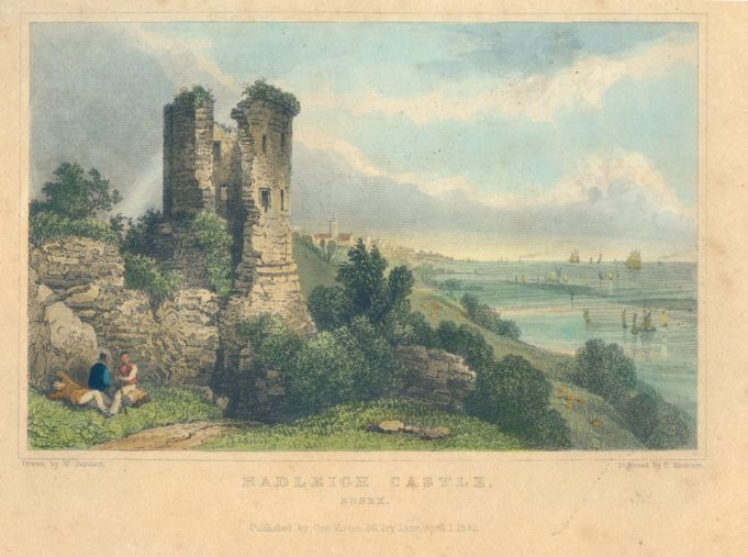 Engraving of Hadleigh Castle from 1832