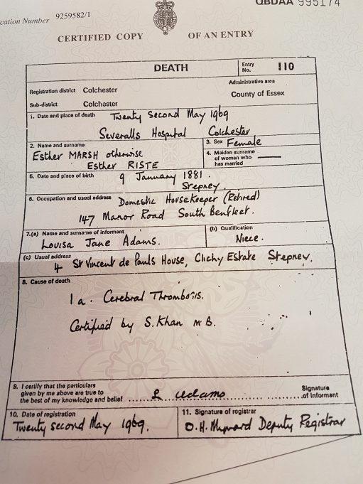 Death Certificate for Miss Esther Marsh | Pamela-Jeanetta Bird Gaines