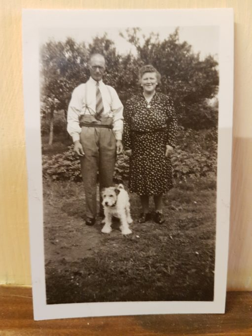 John Fredk. and Susan Sumner with their dog, in the back garden of 'Surene' Malwood Road, Benfleet. | Pamela-Jeanetta Bird Gaines