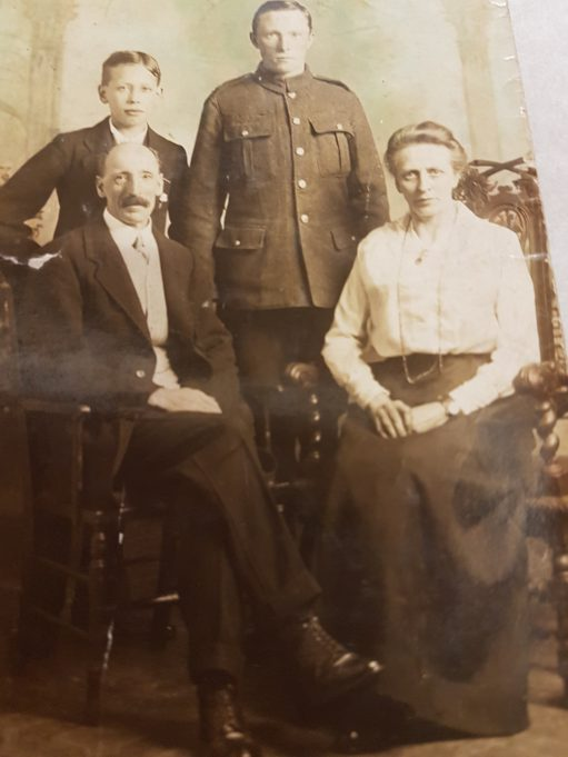 John Fredk. Sumner as a soldier in the Great War, with his brother Arthur and parents, Frederick J. and Alice Maud Sumner | Pamela-Jeanetta Bird Gaines
