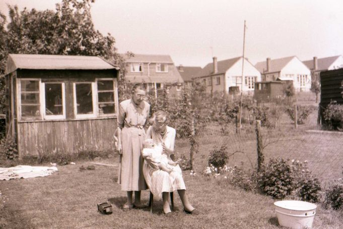 Stephen as a baby with his Grandmother and Great-Aunt in the back garden of 169 Oakfield Road | Stephen Seymour-Jones