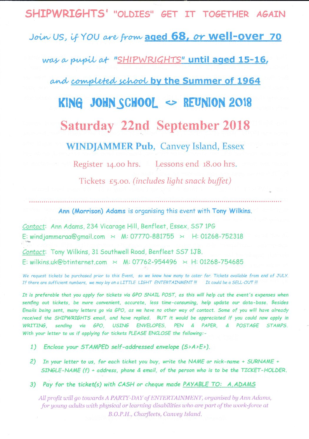 King John School Reunion 2018