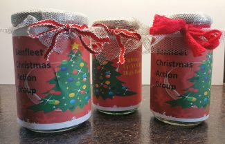 Collection jars for Benfleet Christmas Action to raise money for a Christmas tree and streetlamp decorations.
