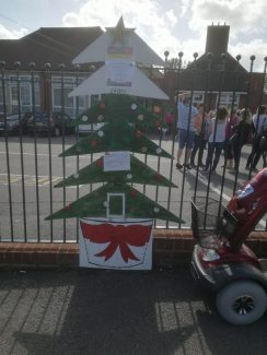 Christmas tree showing fund raising total, September 2018. As money was raised the next branch would be painted total £4000.