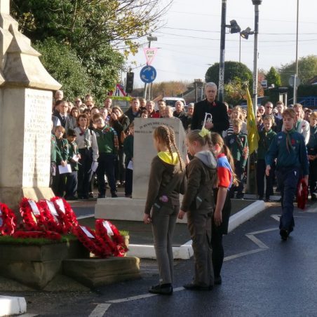 Girl Guides laying wreath.   Jenny Day