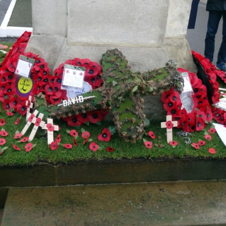 Wreaths on South side of War Memorial.   Jenny Day
