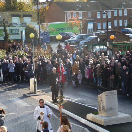 Church procession arriving.   Eileen Gamble