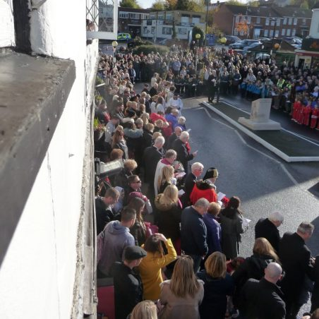 View of the crowd gathered for the Centenary Remembrance Festival from upstairs at the Anchor Public House.   Eileen Gamble