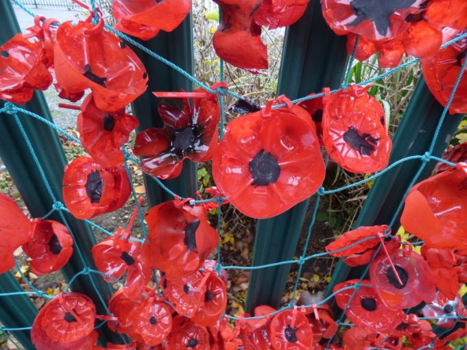 The handmade poppies are made from the bottoms of plastic bottles and then painted. | Phil Coley