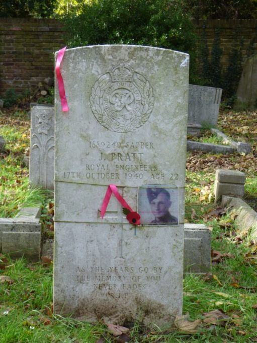 Sapper J Pratt of the Royal Engineers died on 17th October 1940. Age 22. | Phil Coley