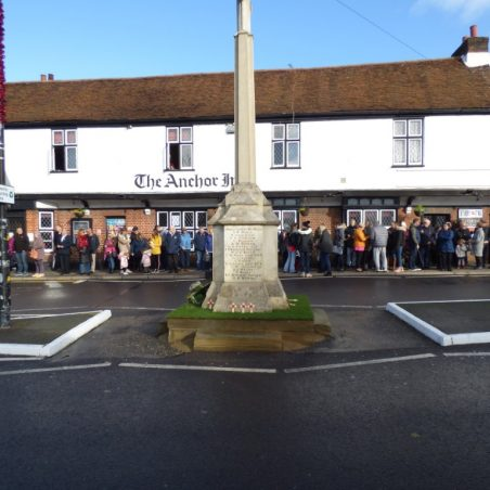 People outside the Anchor Public House on the 11th November 2018.   Phil Coley