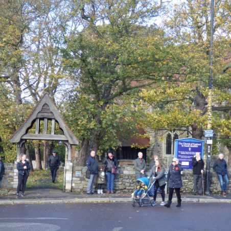 People starting to arrive outside the Lychgate of St Marys Church.   Phil Coley