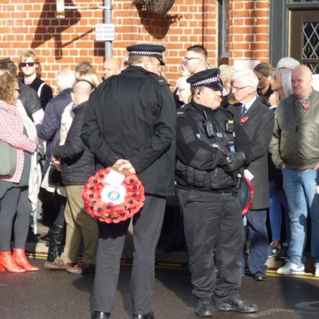Essex Police waiting to lay their wreath.   Phil Coley
