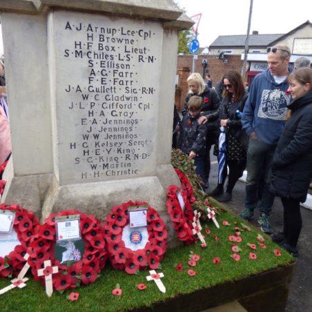Wreaths on East side of War Memorial.   Phil Coley