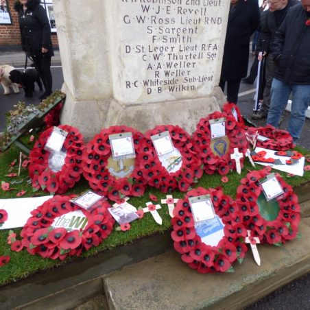 Wreaths on West side of War Memorial.   Phil Coley