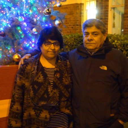 Ram and his wife by the tree. | Christine Coley