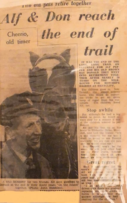 A newspaper clipping featuring Alf Pepper and his horse Don on their retirement | Julie Sims