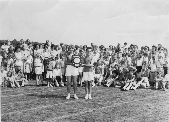 Benfleet Junior School sports 1958/59 - Rosemary Drage and John Peters holding the shield. | John Peters