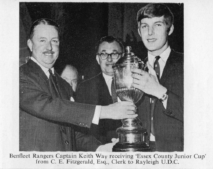 Benfleet Rangers Captain Keith Way receiving the 'Essex County Junior Cup' | John Peters / Southend and District Football League Handbook Season 1968-69