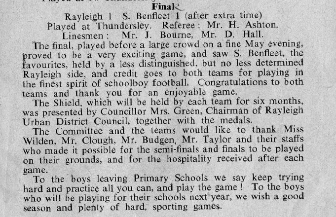 Match report of the 1957/58