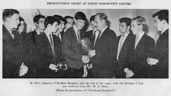 Presentation of Division 2 cup to Benfleet Rangers, 1963-64 season | John Peters / S-O-S Youth Football League Handbook Season 1963-64