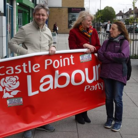 Castle Point Labour Party Banner and representatives from the Party Kieran Smith, Christine Shaw and Pam Sneller | Phil Coley